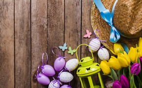 Picture flowers, eggs, spring, yellow, colorful, Easter, tulips, flowers, tulips, spring, Easter, purple, eggs, decoration, Happy