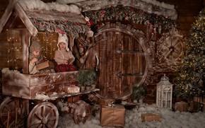 Picture Boy, Girl, Tree, Christmas interior, Studio, Decor
