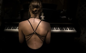 Wallpaper girl, music, piano