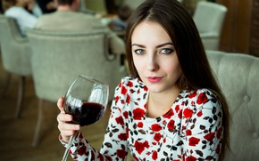 Picture red, girl, summer, fashion, dress, food, model, pretty, people, chair, hair, interior, look, cute, female, ...