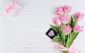 Picture love, flowers, gift, tulips, love, pink, fresh, heart, wood, pink, flowers, beautiful, romantic, tulips, gift, …