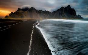 Picture sea, shore, morning, Fire, Ice