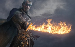 Picture fire, sword, the series, art, A Song of Ice and Fire, Game of Thrones, one-eyed, …