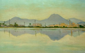 Picture landscape, mountains, reflection, home, picture, Albert Marquet, Albert Marquet, The Tunisian Channel