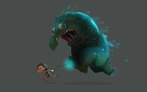 Wallpaper run!, Glenn Melenhorst, 2D and 3D, the situation, art, guy, monster