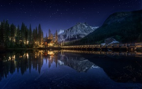 Picture forest, the sky, water, stars, mountains, night, Canada, house, the bridge