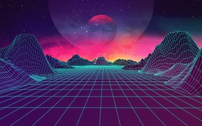 Wallpaper Synthpop, Synth, Retrowave, Synth-pop, JohnLeePee, Music, Electronic, Darkwave, Stars, Space, Mountains, Synth pop, Synthwave, Neon, ...