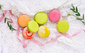Picture flowers, colorful, dessert, pink, flowers, cakes, sweet, sweet, dessert, macaroon, french, macaron, macaroon
