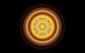 Picture light, round, black background, mandala