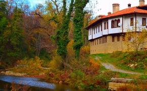 Picture Autumn, House, Stream, Nature, Fall, Autumn