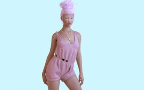 Picture girl, jumpsuit, pink hair