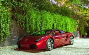 Wallpaper Lamborghini, wheels, Red, Gallardo, hrome