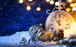 Picture snow, watch, New Year, Christmas, new year, happy, fireworks, 2017