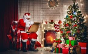 Wallpaper Christmas, santa claus, gifts, merry christmas, christmas tree, New Year, decoration