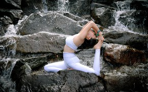 Picture water, girl, nature, pose, stones, gymnastics, yoga, Asian