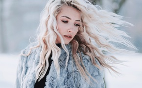 Picture winter, girl, snow, background, makeup, hairstyle, blonde, coat, bokeh