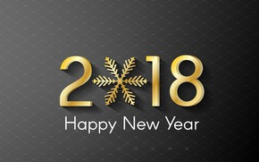 Picture New Year, gold, happy, snowflake, 2018, New Year