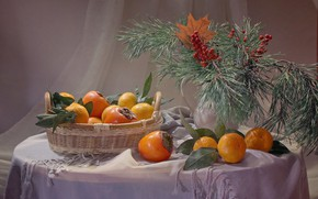 Picture leaves, branches, table, holiday, new year, Christmas, vase, fruit, still life, basket, citrus, Rowan, coniferous, …