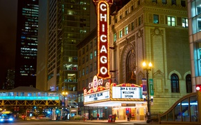 Picture car, auto, the building, construction, The city, Chicago, City, taxi, Chicago, taxi, building, structure