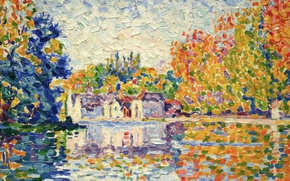 Picture landscape, picture, Paul Signac, pointillism, Samois on the Seine