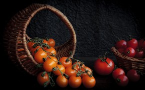 Picture still life, baskets, tomatoes