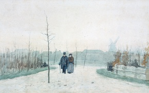 Picture figure, watercolor, Anton Mauve, Old Couple in the New Park