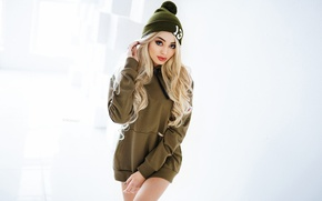 Picture girl, background, hat, makeup, hairstyle, blonde, Taya, sweatshirt, Ivan Gorokhov, For Black Star Wear