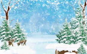 Wallpaper forest, deer, glare, bokeh, snowflakes, trees, winter, art, snow, the snow