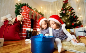 Picture children, gift, girls, toys, tree, New year, fireplace, Christmas, garland, toys, New Year, Gemini, gift, …