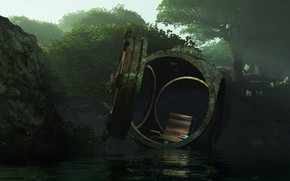Picture forest, capsule, pond, batyscaaf, Alien adrift