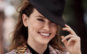 Picture smile, background, portrait, hat, actress, brown hair, beauty, photoshoot, bokeh, Glamour, 2017, Daisy Ridley, Daisy …