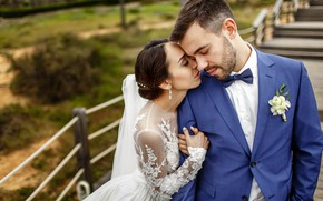 Picture love, kiss, dress, the bride, wedding, the groom
