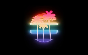 Wallpaper Music, Neon, Palm trees, Background, Electronic, Synthpop, Darkwave, Synth, Retrowave, Synth-pop, Synthwave, Synth pop
