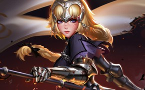 Wallpaper Fate/Apocrypha, soldier, blonde, purple eyes, fantasy art, digital art, artwork, anime girl, warrior, armor, blood, ...