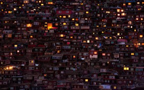 Picture light, the city, lights, home, the evening, China, slums