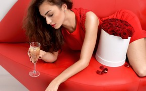 Picture flowers, red, pose, sofa, wine, glass, roses, makeup, petals, dress, hairstyle, lies, brown hair, beauty, ...