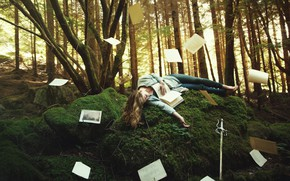 Picture forest, girl, trees, pose, fantasy, vegetation, moss, sleep, tale, sword, crown, hill, fantasy, blonde, sleeping, …