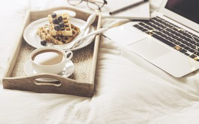 Wallpaper coffee, Berries, Laptop, waffles
