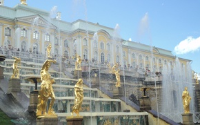 Picture summer, the sky, fountains, Palace, sculpture, Peterhof