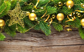 Picture decoration, holiday, balls, toys, star, new year, Christmas, serpentine, Golden, pine branches