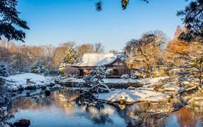 Picture winter, trees, house, pond, Park, Philadelphia, PA, Pennsylvania, Philadelphia, Fairmount Park, Shofuso Japanese House and …