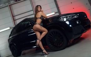Wallpaper car, girl, hot, sexy, lingerie, ass, bra, cleavage, panties, long hair, legs, boobs, breast, model, ...