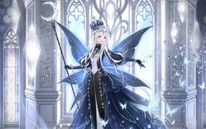 Picture girl, butterfly, wings, crown, staff