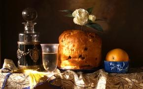 Picture style, glass, orange, still life, Gardenia, brioche