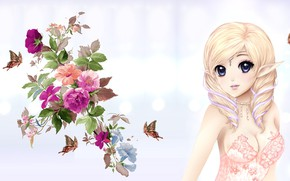 Picture girl, butterfly, elf, bouquet, anime, art, elf, No Name