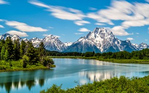 Picture forest, mountains, river, Wyoming, Wyoming, Grand Teton National Park, Rocky mountains, The Snake River, Snake …