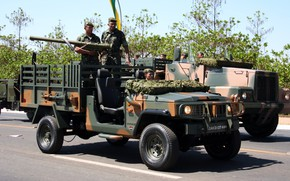 Picture artillery, rocket launch, made in Brazil, howitzer, Agrale, military and civil vehicle, manufactured in Santa …
