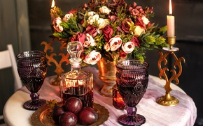 Picture table, wine, candle, bouquet, glasses, plum, decanter
