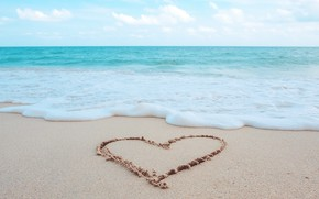 Picture sand, sea, wave, beach, summer, love, heart, summer, love, beach, sea, heart, romantic, sand