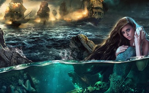 Picture Sea, Rocks, Skull, Fire, Mermaid, Scales, Ships, Sails, Pirates, Plarium, Tides of Fortune, Pirate Code